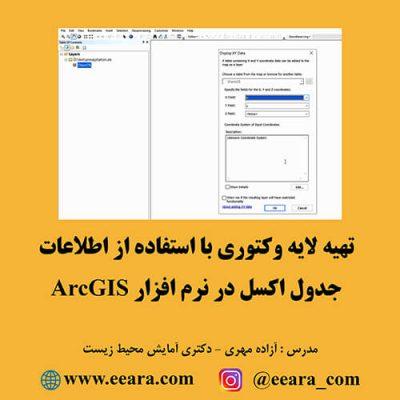 تهیه لایه وکتوری با استفاده از اطلاعات جدول اکسل در نرم افزار ArcGIS